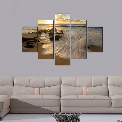 Tide In the Ocean 5 Piece Canvas Wall Art Decor