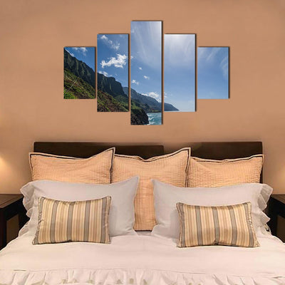 Mountain Cliff in a Sunrise 5 Piece Canvas Wall Art Decor