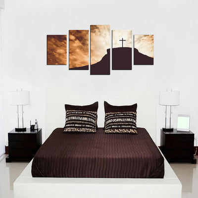 Silhouette of Cross on a Hill 5 Piece Canvas Wall Art Decor