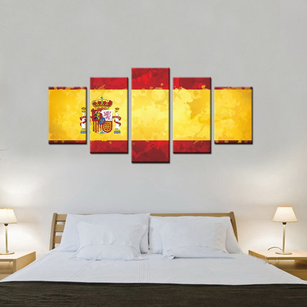 Spain Ink Splattered Flag 5 Piece Canvas Wall Art Decor - PassionGallery