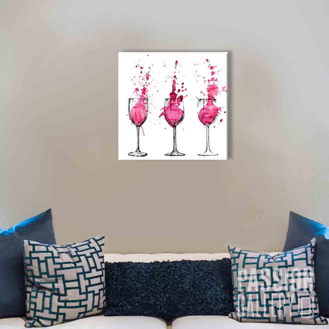 Splattered Glasses of Red Wine 1 Piece Canvas Wall Art Decor