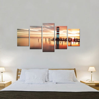 Sunrise At The Lighthouse 5 Piece Canvas Wall Art Decor
