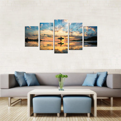 Surfer on the Shore 5 Piece Canvas Wall Art Decor