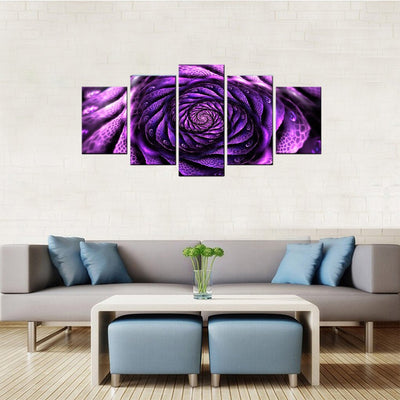 Surreal Magenta Flower 5 Piece Canvas Wall Art Decor