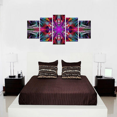 Symmetric Fractal Flower 5 Piece Canvas Wall Art Decor