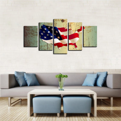 USA Flag Map 5 Piece Canvas Wall Art Decor