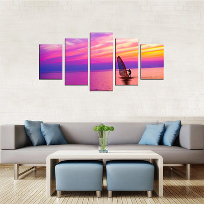 Windsurfing Scenery 5 Piece Canvas Wall Art Decor