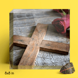 A Wooden Cross Acrylic Block