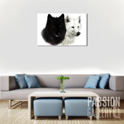Black and White Wolves  1 Piece Canvas Wall Art Decor