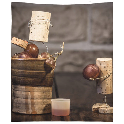 Amusing Cork Figures Pressing Grapes Wall Tapestry