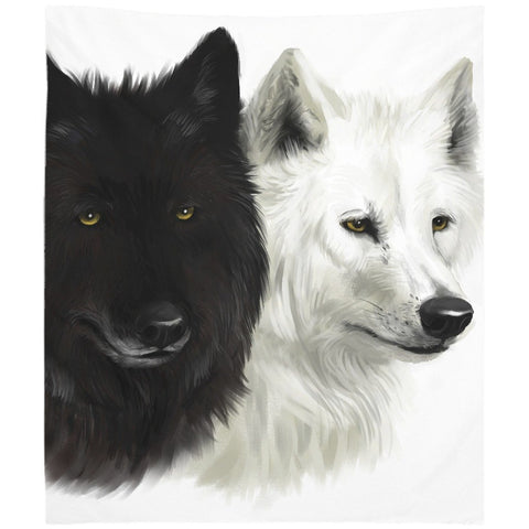 Black and White Wolves Wall Tapestry