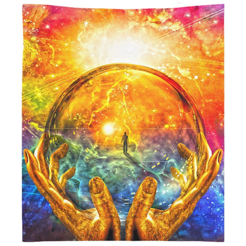 Man In A Glass Sphere Wall Tapestry
