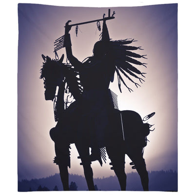 Native American Silhouette on a Horse Wall Tapestry
