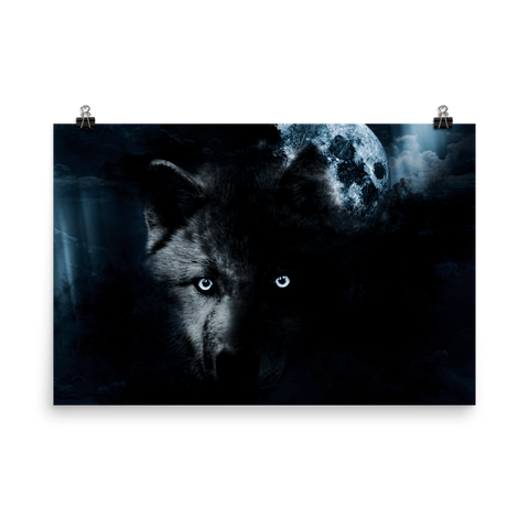 Fierce Wolf and the Full Moon Premium Luster Wall Art Poster