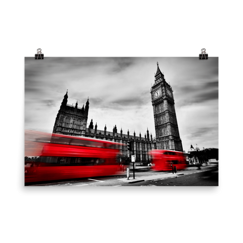 Red Buses in Big Ben Enhanced Matte Wall Art Poster