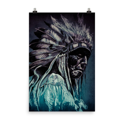 Cherokee Indian Portrait Enhanced Matte Wall Art Poster