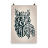 Wolf in Tribal Print Premium Luster Wall Art Poster