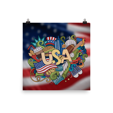 USA Destinations in Doodle Premium Luster Wall Art Poster
