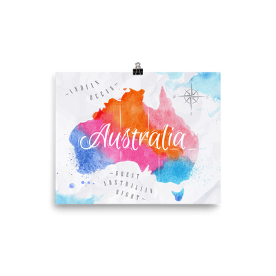 Australia Watercolored Map Premium Luster Wall Art Poster