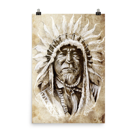Sketched Native American Indian Portrait Enhanced Matte Wall Art Poster