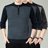 Mens Faded Stripes Casual Sweater