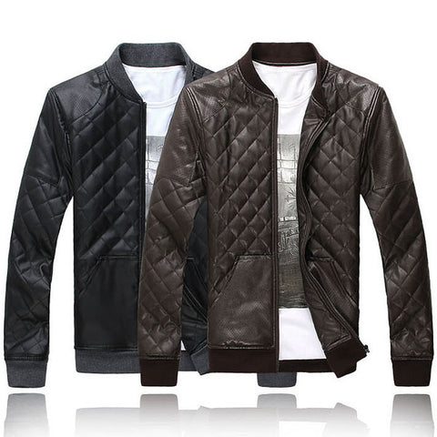 Mens Quilted Faux Leather Jacket – Mens Fashion Factory : quilted leather jacket mens - Adamdwight.com
