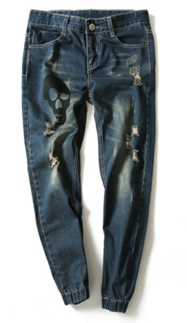 Mens Tears and Skull Jeans