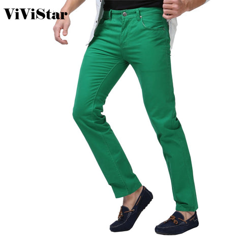 Mens Solid Candy Color New Spring Summer Autumn Fashion Casual Brand Jeans