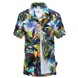 Mens Summer Hawaiian Shirt Casual Beach Slim Fashion Floral Shirts Coconut