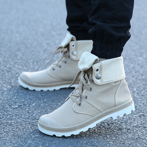 Mens New Canvas Boots Lace Up Canvas Shoe Ankle Motorcycle Boots