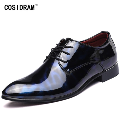 Mens Formal Pointed Toe Business Wedding Patent Leather Oxford Shoes