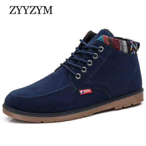 Mens Winter Lace-up Style Trend Fashion Top Warm Snow Boots