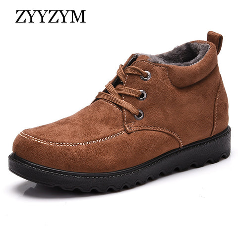 Mens Cotton-padded Stylish Winter Suede Outdoor Warm Boots