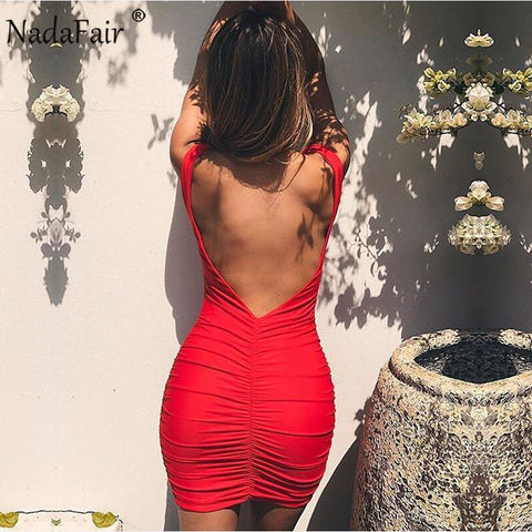 Womens V Neck Sleeveless Backless Sexy Bodycon Club Dress