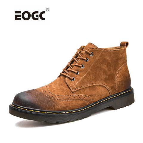 Mens Genuine Leather Boots Ankle Boots Fashion Lace Up Shoes