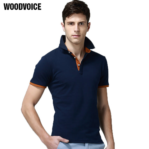 Mens Fashion New Shirt Business Casual Solid Polo Shirt Short Sleeve Breathable