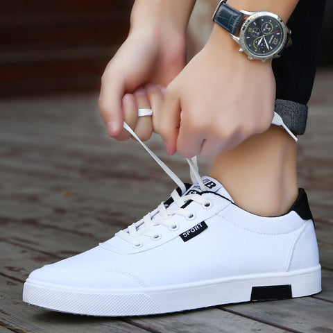 Mens new fashion casual white board shoes breathable canvas sneakers