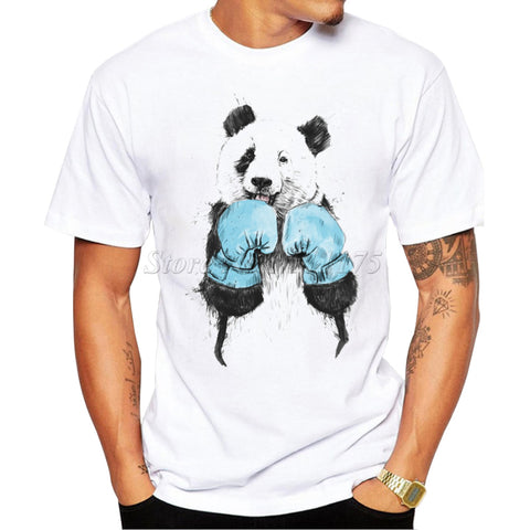 Mens New Fashion Panda Fighter Printed T Shirt Cool Tops Hipster Style Casual T-shirt