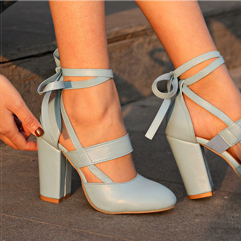 Womens Pumps Comfortable Thick High Heels Ankle Strap Gladiator Wedding Shoes