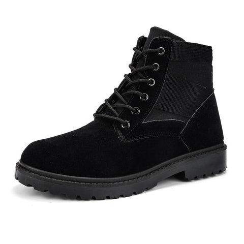 Mens Tactical Casual Brown Faux Suede Military Ankle Boots
