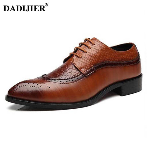 Mens PU Leather Dress Pointed Toe Bullock Oxfords Shoes