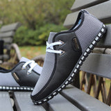 Mens Summer Sneakers Leather Loafers Slip On Casual Shoes