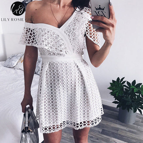 Womens Sexy Ruffle Short Sleeve White Lace Mini Sweet Pink Dress