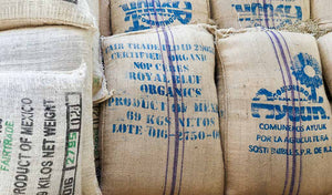 Green, organic, fair trade coffee.