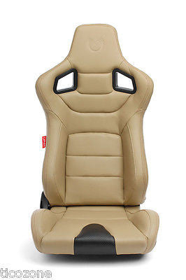 Cipher Euro Racing Seats Tan Leatherette Carbon Fiber w/ Stitching - Pair