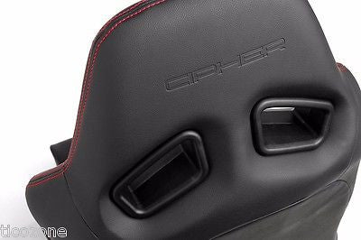 AR-8 Revo Racing Seats All Black Leatherette w/ Red Outer Stitching - Pair NEW!