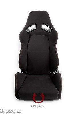 AR-8 Revo Racing Seats All Black Fabric w/ Red Outer Stitching - Pair (NEW!)