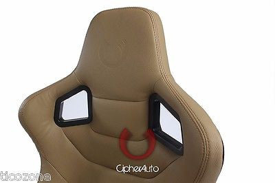 Cipher Euro Racing Seats Beige Leatherette Carbon Fiber - Pair