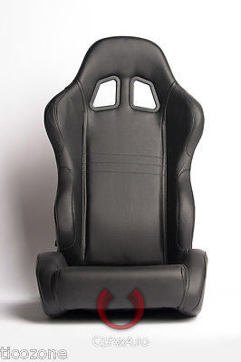 Cipher Auto 1007 All Black Leatherette UNIVERSAL Racing Seats SPARCO RECARO STYLE-Pair