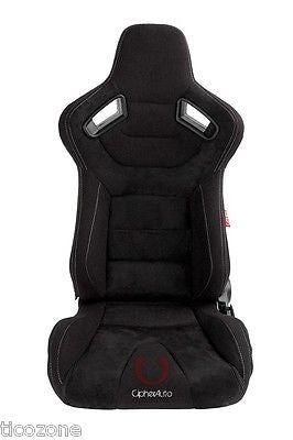 AR-9 Revo Racing Seats Black Suede & Fabric w/ Carb. Fiber Poly Backing Pair NEW